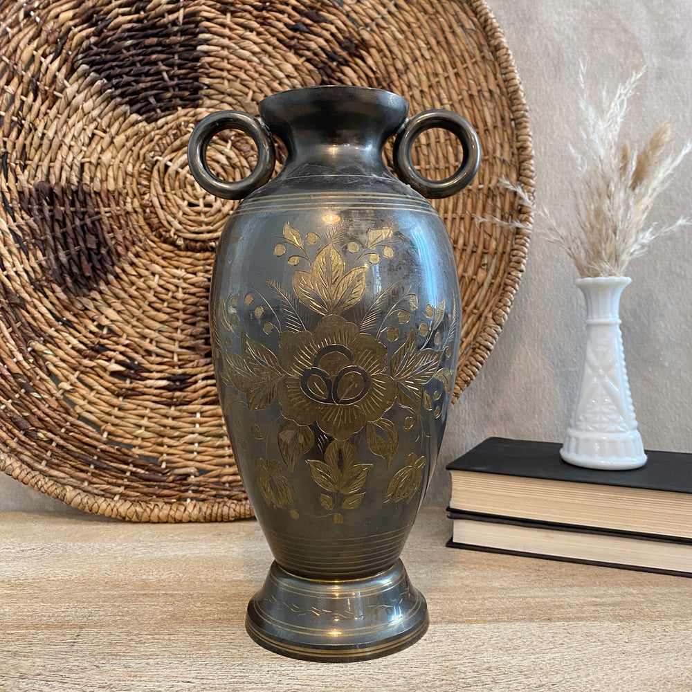 Vintage Two Tone Etched Vase