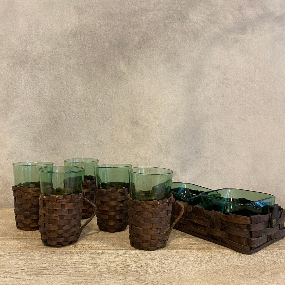 Rattan Vintage Glass Set