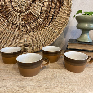 Load image into Gallery viewer, Vintage Taupe Striped Mug Set of 4