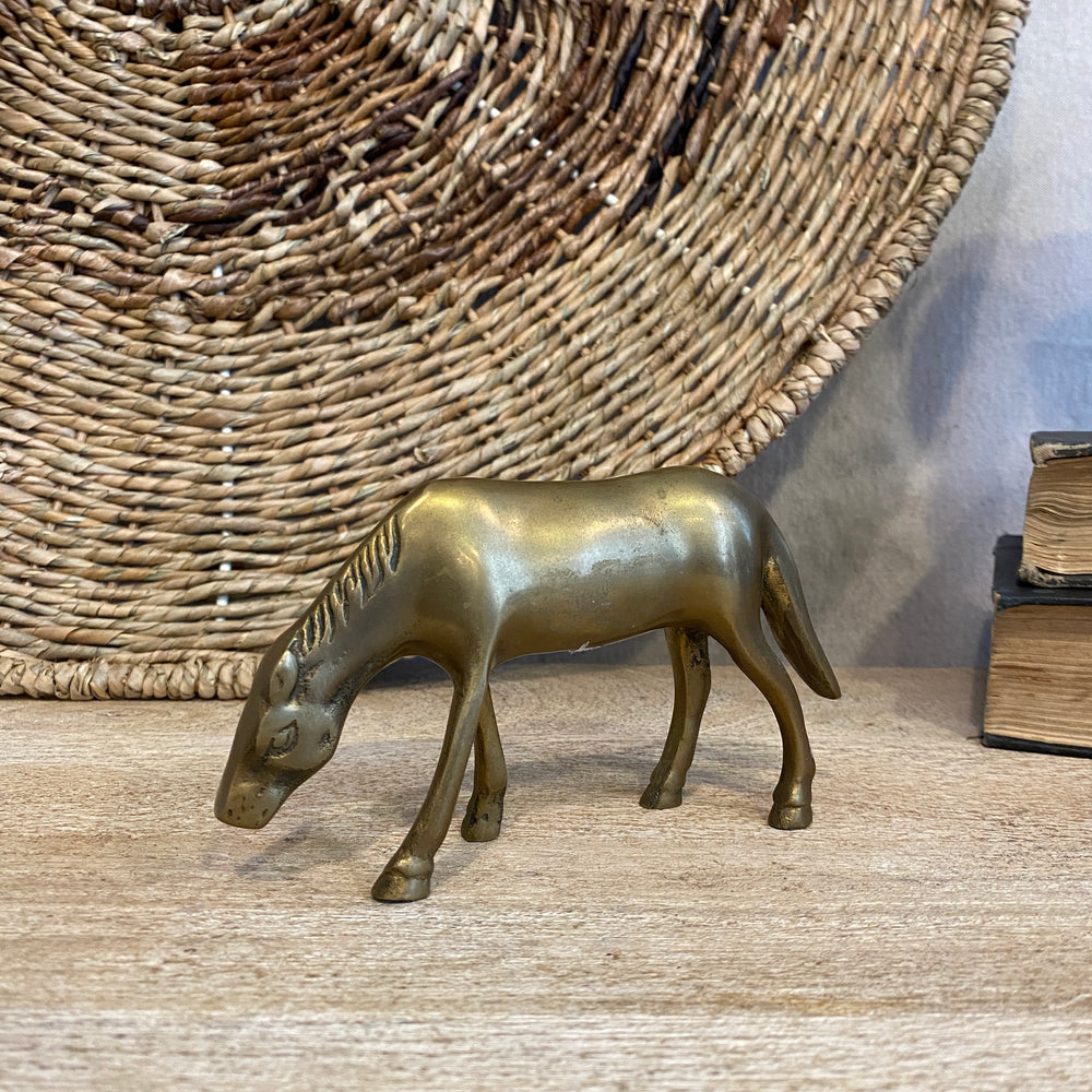 Small Vintage Brass Grazing Horse