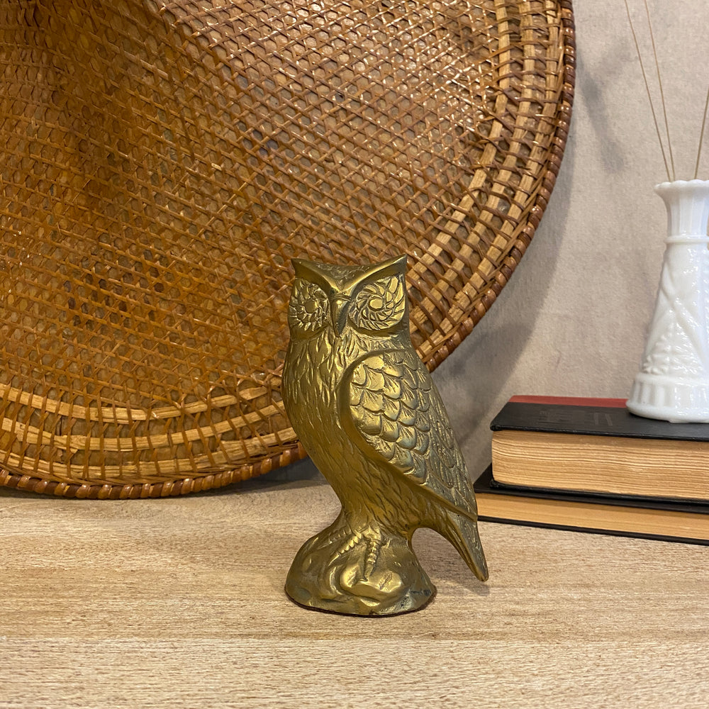 Vintage Brass Owl on Pedestal