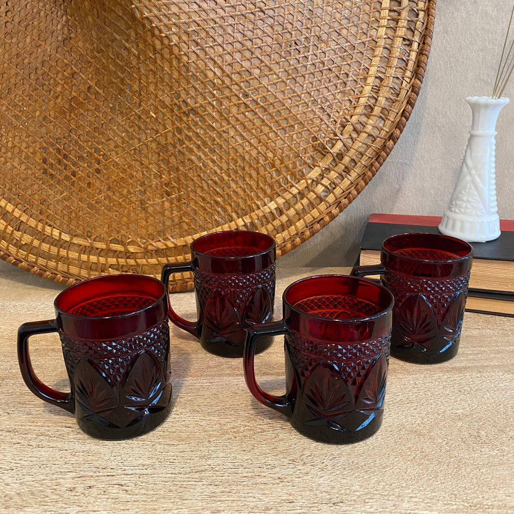 Vintage Red Glass Mug Set of 4