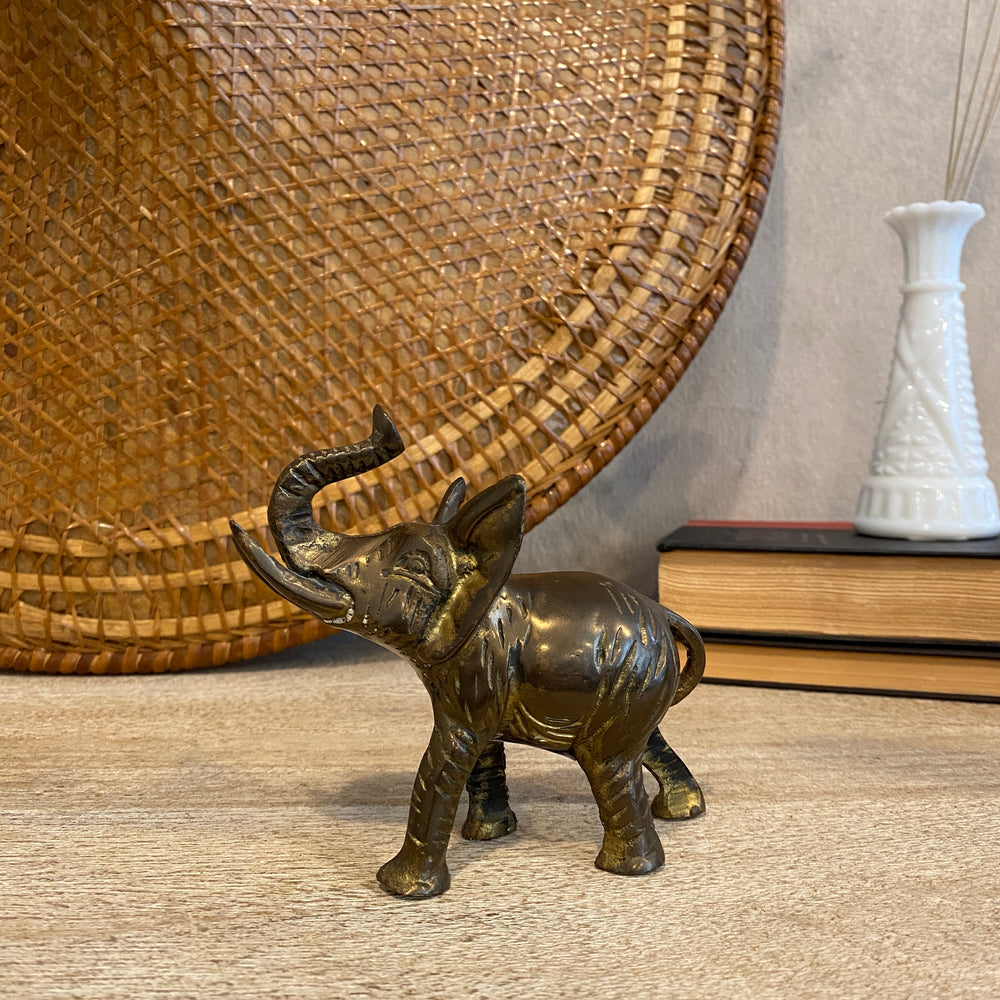 Vintage Etched Brass Elephant