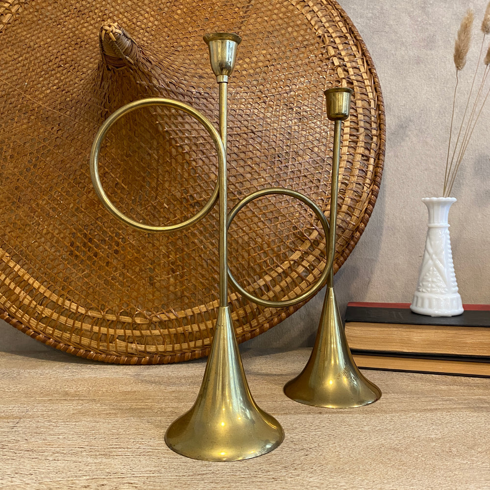 Pair of Vintage Brass Trumpet Candlestick Holders