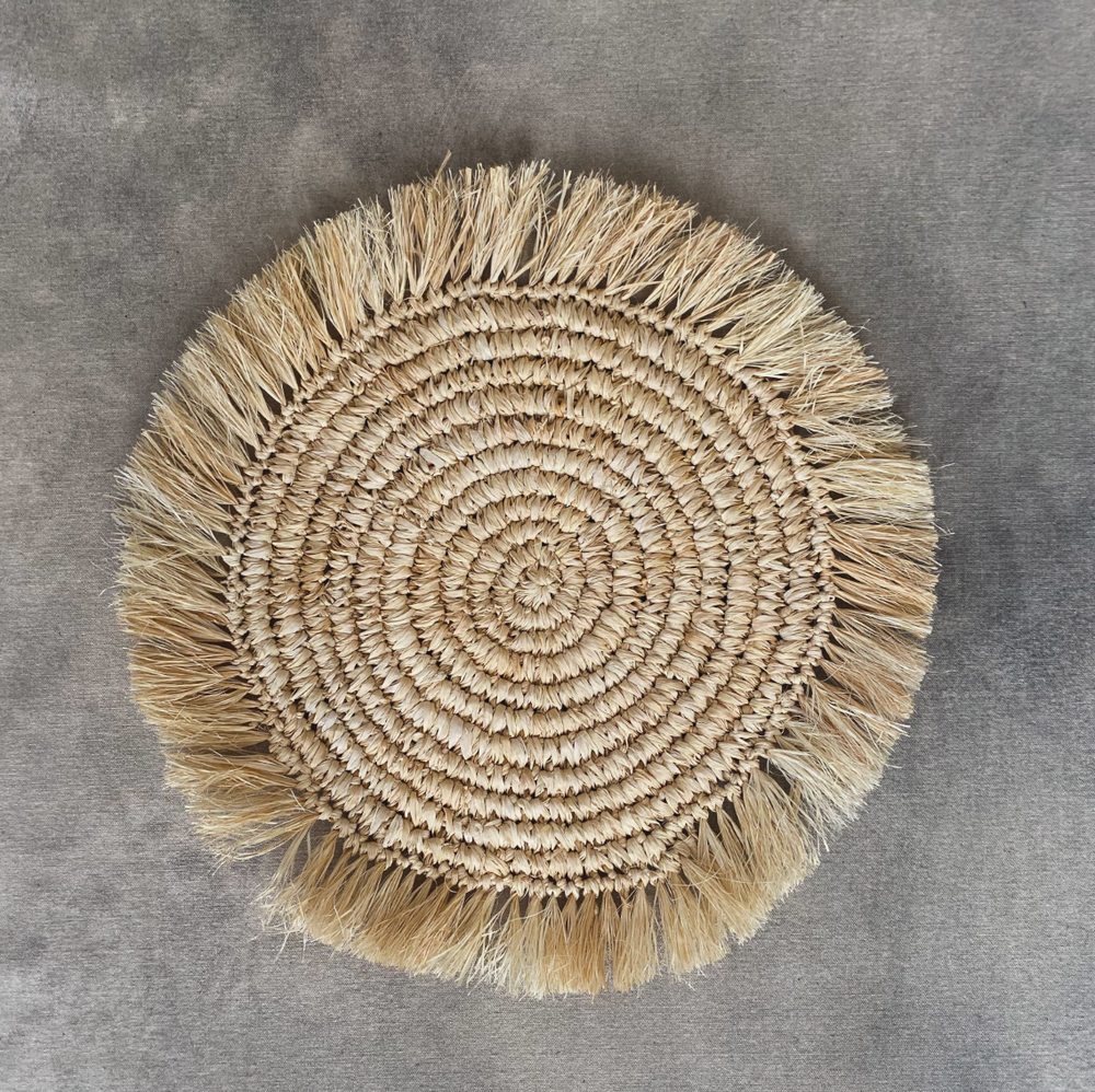 Natural Woven Placemat with Fringe