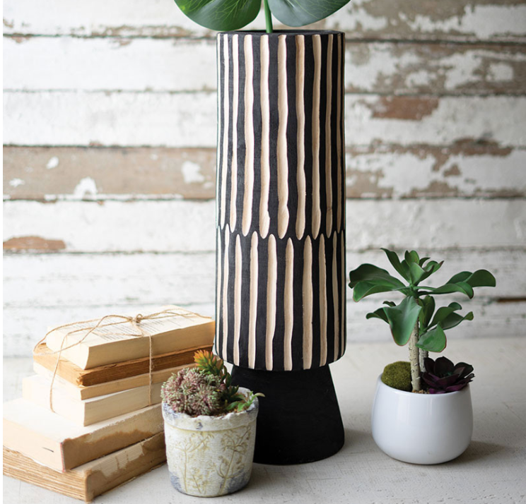 Tall Black & White Wooden Vase