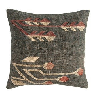 Jute & Wool Blend Kilim Pillow, Multi Color