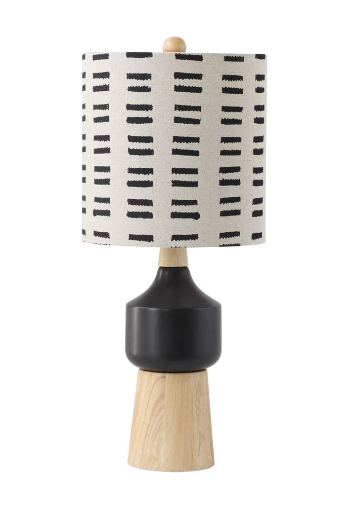 Wood and black base lamp with mud cloth shade