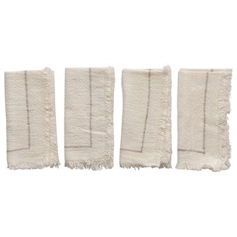 Cream Cotton Fringe Napkin