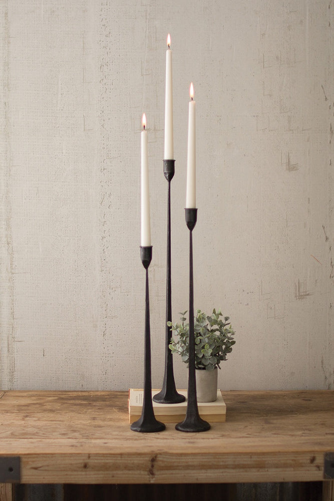 Load image into Gallery viewer, Set of 3 Iron Taper Candle Holders