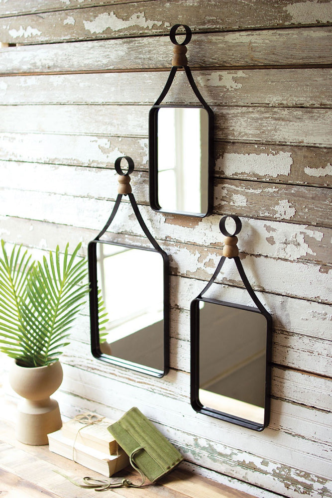 Metal Framed Mirror with Ball Detail (Large)
