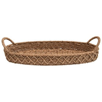 Decorative Woven Seagrass Oval Tray
