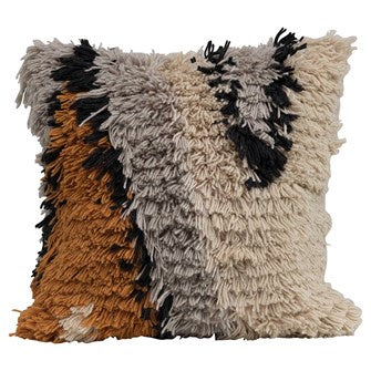 Square Wool Shag Pillow, Multi Color