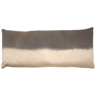 Natural & Charcoal Dip Dyed Lumbar Pillow