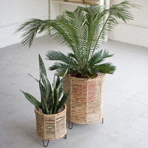 Small Woven & Iron Plant Stand