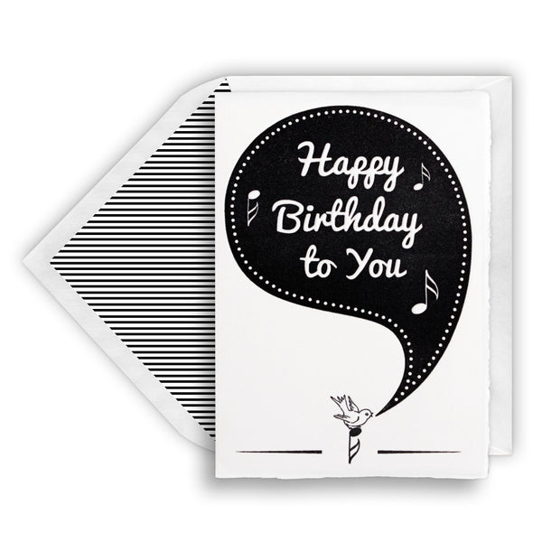 Letterpress Birdie Happy Birthday