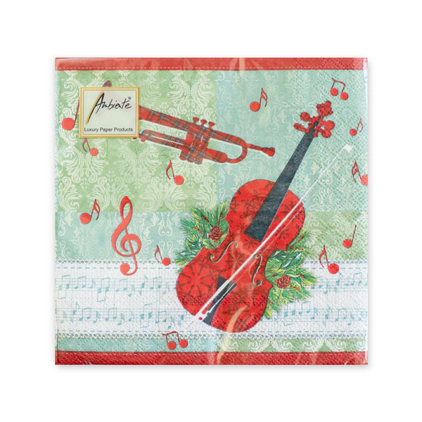 Holiday Cello and Trumpet Luncheon Napkins