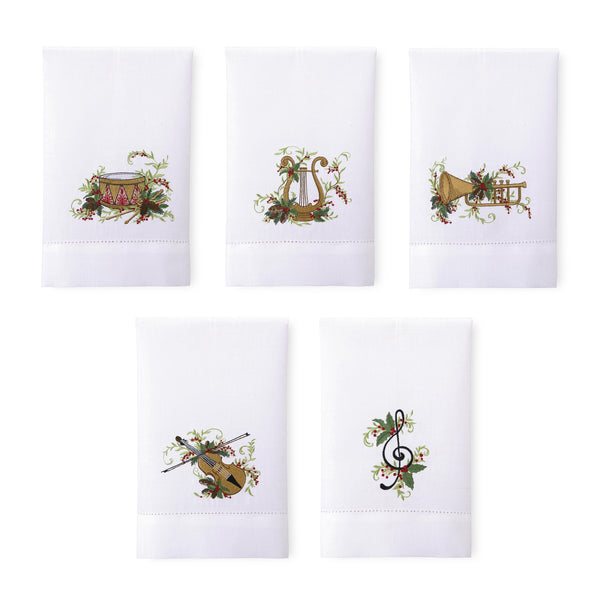Christmas Quartet Guest Towels, Set of 5