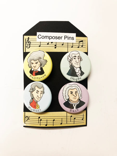 Composer Cartoon Pin Set