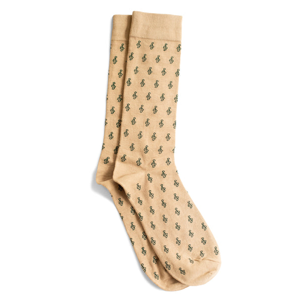 Men's Mini G-Clef Socks, Khaki