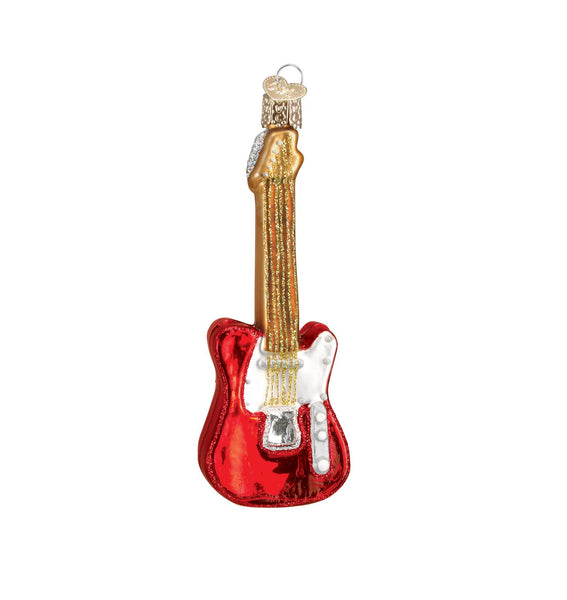 Electric Guitar Blown Glass Ornament
