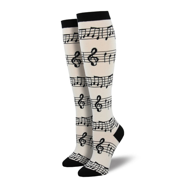 Women's Music Knee Highs, White