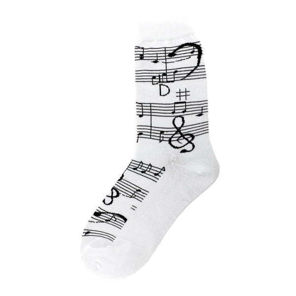 Women's Music Note Socks, White