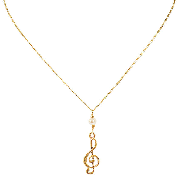 Gold Treble Clef Music Charm Necklace with Pearl