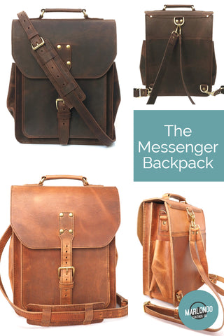 The Marlondo Leather Messenger Backpack