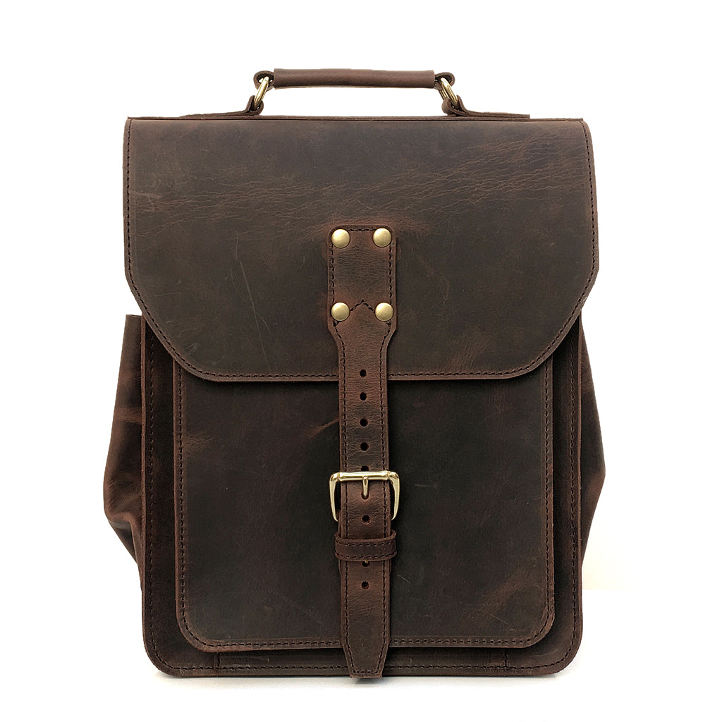 Messenger Backpack Leather Hybrid Laptop Bag Converts To Backpack Marlondo Leather Co