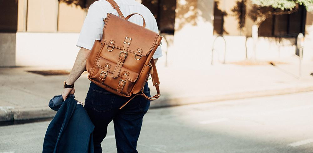 Marlondo Leather Backpack in Tobacco