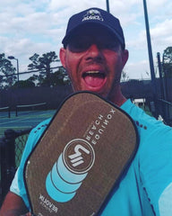 Pickleball Professional player from Florida Davey Williams with elongated Pickleball paddle by revolin sports