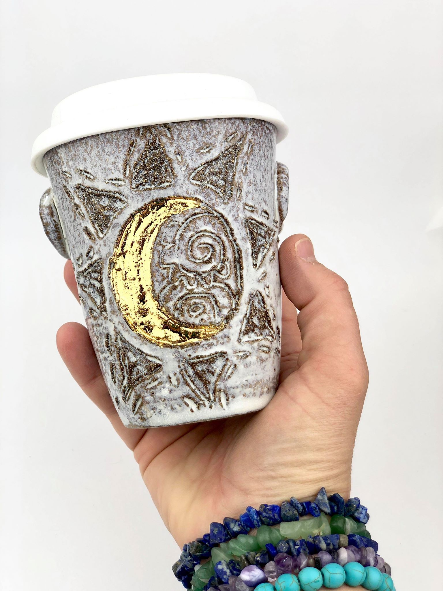"Sacred Moon ""Crescent Moon"" Ceramic Travel Cup"