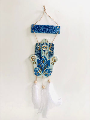 Talisman Wall Hanging Hand Of Hamsa in Blue