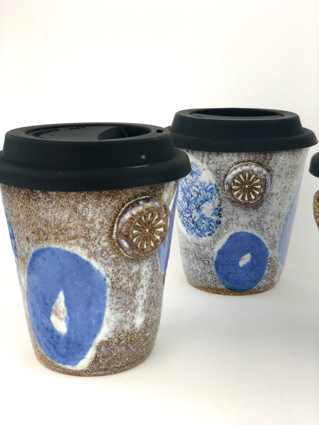 Takeaway Coffee Cup | Decorative Wheel Thrown Ceramic Travel Cup