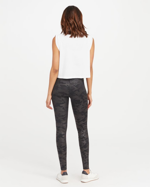 Faux Leather Camo Leggings - Mulberry & Me Chicago Boutique