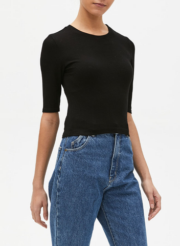 Crew Neck Crop Tee - Mulberry & Me Chicago Boutique