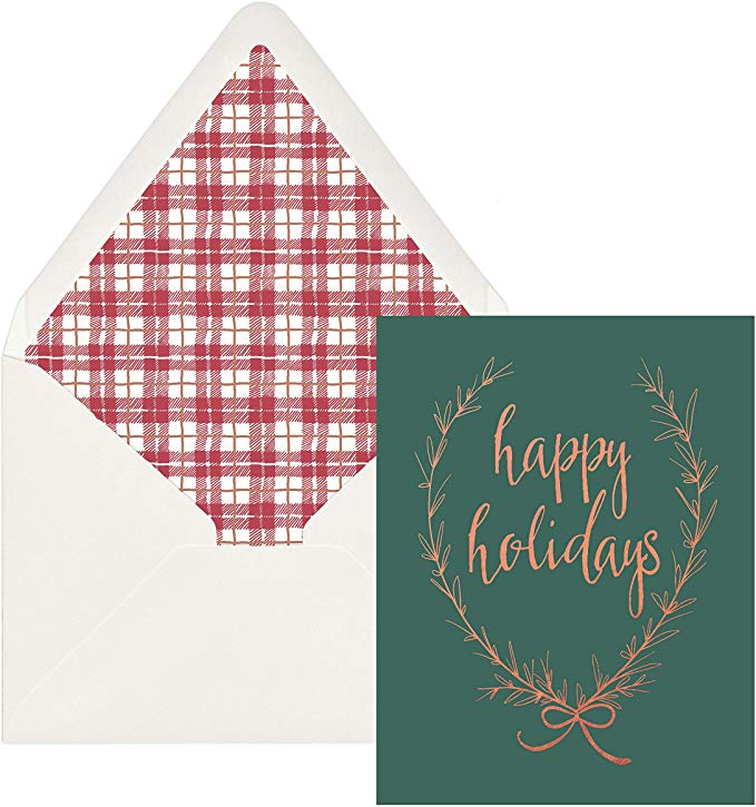 Wreath & Plaid Holiday Card Set - Mulberry & Me