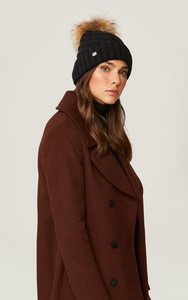 AMALIE Removeable Fur Pom Beanie - Mulberry & Me Chicago Boutique