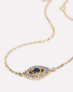 Tiny Pave Evil Eye Necklace