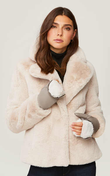 Betrice Faux Fur Lined Leather Mittens