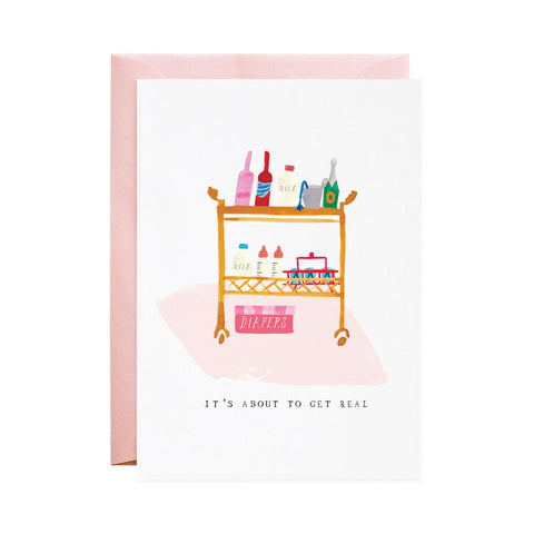 Diapers in the Bar Cart - Baby Card - Mulberry & Me
