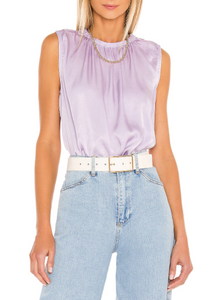 Smocked Neck Tank- Purple Heather