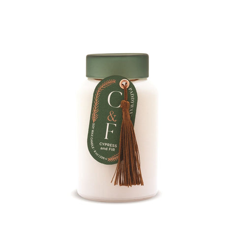 Cypress & Fir White Glass Candle