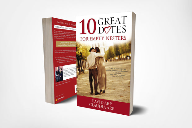 Front and back book cover of 10 great dates for empty nesters by David and Claudia Arp