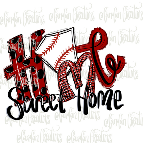 Home Sweet Home (Basebal/Red Polka Dot) - Heat Transfer/Sublimation Transfer