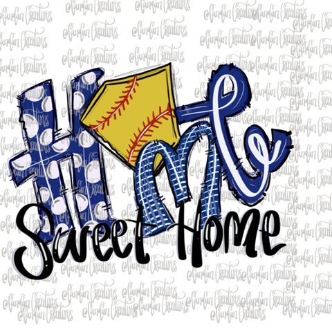 Home Sweet Home (Softball/Blue) - Heat Transfer/Sublimation Transfer
