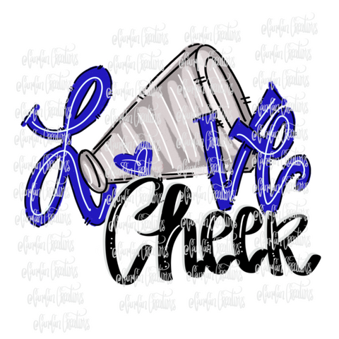 Love Cheer (Blue/White) - Heat Transfer/Sublimation Transfer
