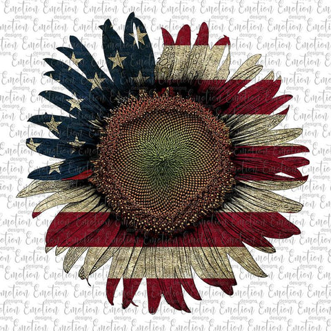 Sunflower American Flag - Heat Transfer/Sublimation Transfer