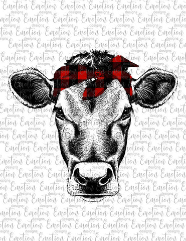 Cow with Red Plaid Bandana - Heat Transfer/Sublimation Transfer